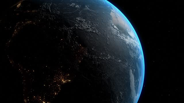 realistic earth from space with city lights, loopable, 60 fps - 50 seconds or greater stock videos & royalty-free footage