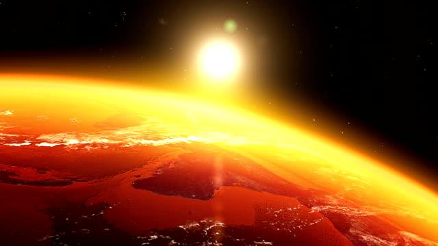 Realista & nascer do sol Terra vista do Espaço
