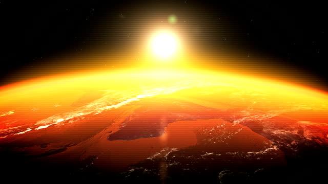 Realistic Earth-Sunrise seen from Space (DIGITAL GLITCH)