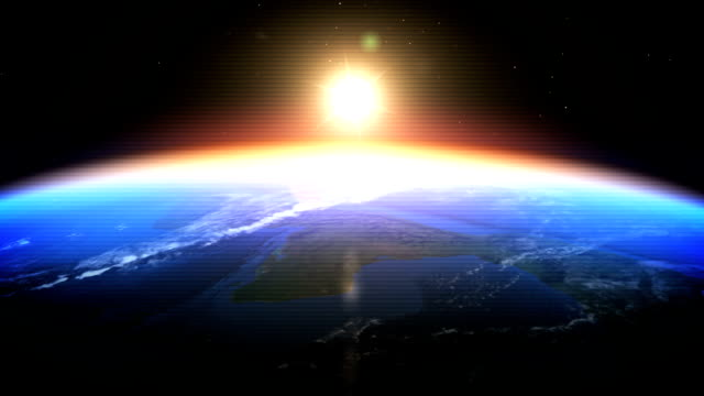 realistic earth-sunrise seen from space (digital glitch) - home video camera stock videos and b-roll footage