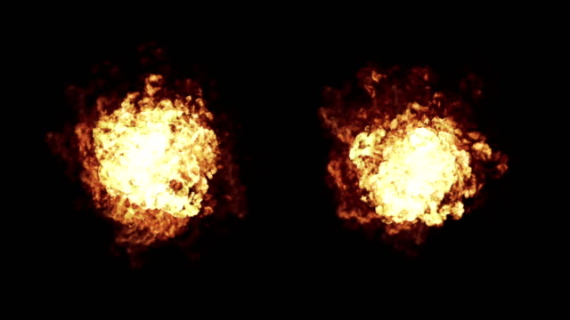 Realistic Explosions Set Close Up + Alpha