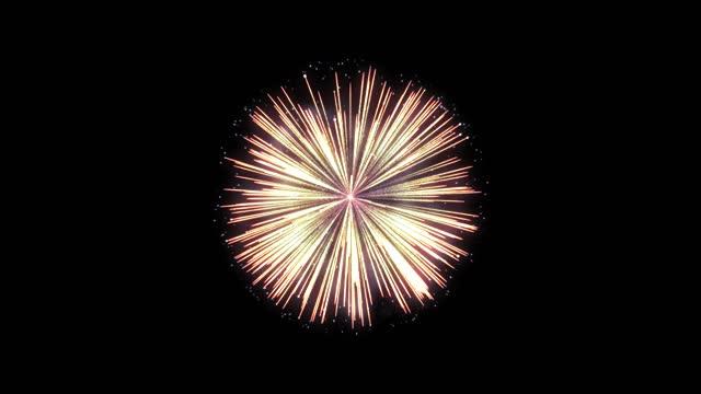 realistic festive firework on black (series) - firework display stock videos & royalty-free footage