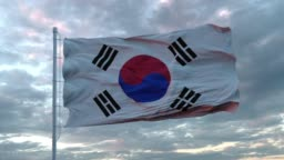Realistic flag of South Korea in the wind against deep Dramatic Sky. 4K UHD 60 FPS Slow-Motion