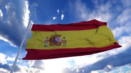 Realistic Flag of Spain waving at wind in slow with blue sky