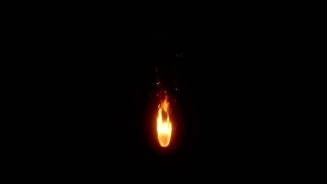 realistic flame (loopable) - black background stock videos & royalty-free footage