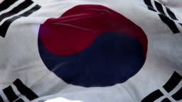 Realistic Korea South Flag 3d animation loop