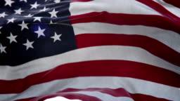 Realistic USA Flag 3d animation loop