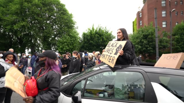 reality tv stars from 'love island' sianeese fudge and luke trotman stuck in their car during a black lives matter march through central london on... - reality tv stock videos & royalty-free footage
