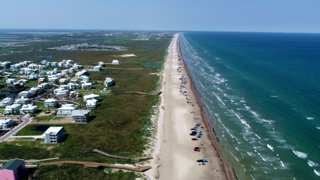 really high above padre island summertime drone view high above the gulf coast with deep blue water and great conditions - corpus christi texas stock videos & royalty-free footage