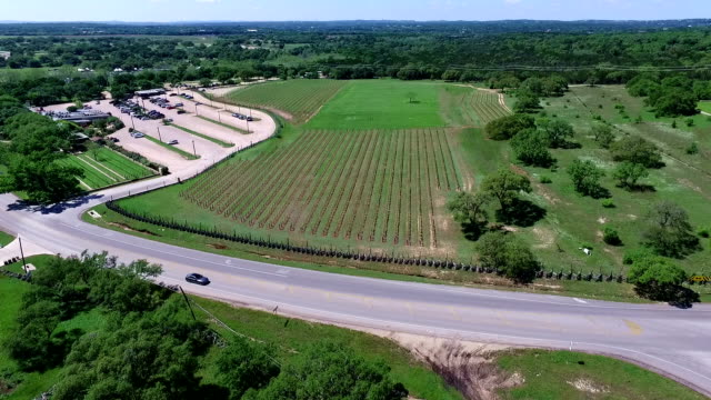 Really High angle Overlook to close to crops Aerial Wine to Market or Farm to Market in Austin Texas