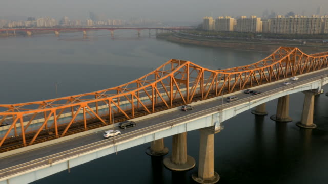 Realtime Aerial view of cars on Donghodaegyo Bridge at Han River