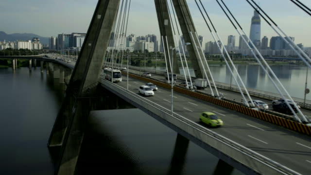 Realtime Aerial view of cars on Olympic Bridge at Han River