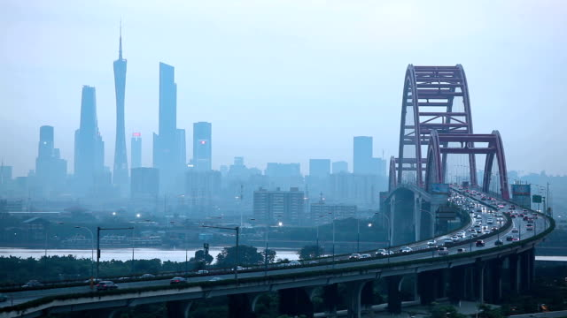 realtime clip of guangzhou skyline - guangzhou stock videos & royalty-free footage