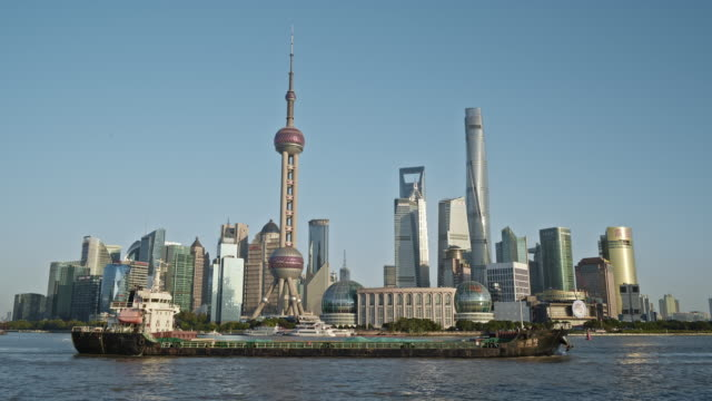 4k realtime footage : shanghai city and huangpu river - abstract stock videos & royalty-free footage