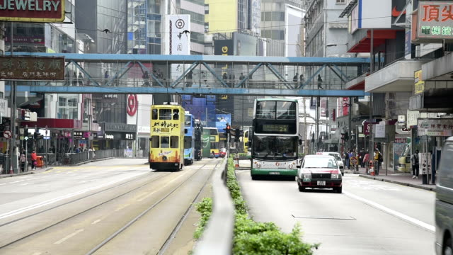 HD real-time video , cityscape of Hong Kong , busy traffic shuttle traffic