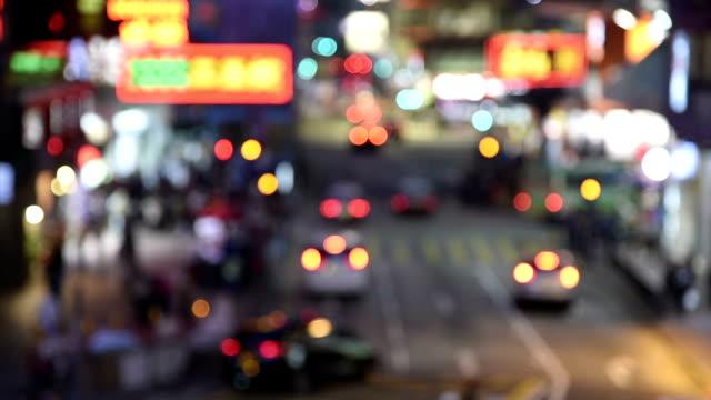 HD real-time video , Hong Kong night city road scenery , shuttle traffic