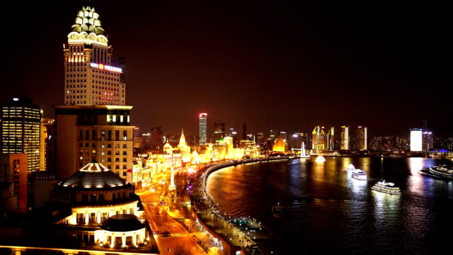En haute définition vidéo en temps réel, à Shanghai de nuit