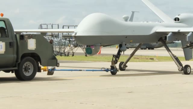 reaper from cannon air force base new mexico departs from hurlburt field florida this is the first time the reaper has been used from hurlburt or in... - southwest florida stock videos & royalty-free footage