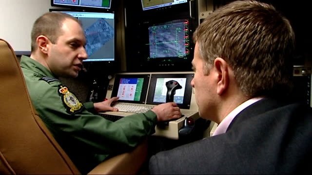 uk 'reaper' military drones pilots interviewed england lincolnshire raf waddington int neil pappini interview sot / other drone pilot interview sot - drone pilot stock videos and b-roll footage