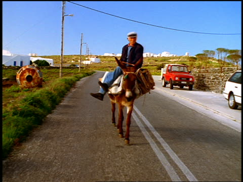 vidéos et rushes de rear car point of view senior man riding mule on country road toward camera / santorini, greece - baudet