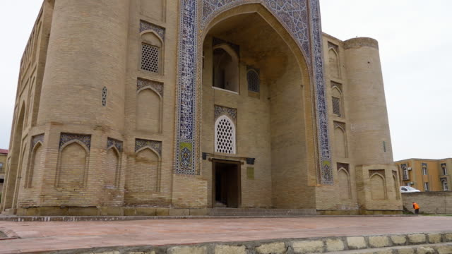 rear entrance of nadir divan-begi madrasah - bukhara stock videos & royalty-free footage