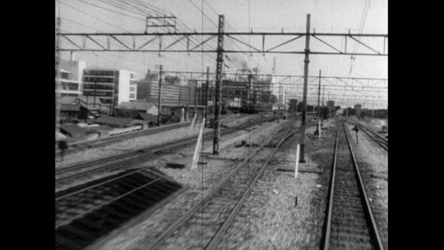 rear pov in motion looking down train tracks; 1959 - 1950 1959 stock videos & royalty-free footage