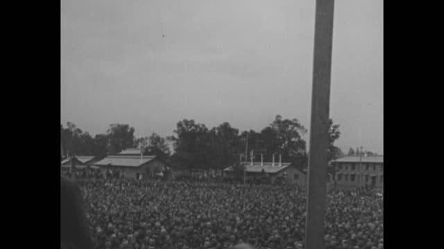 rear shot former president theodore roosevelt gives speech to huge crowd outdoors / note: exact year not known; documentation incomplete; film has... - incomplete stock videos & royalty-free footage