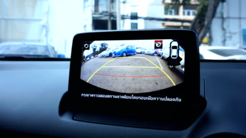 rear view camera car while the vehicle is reversing. - reversing stock videos & royalty-free footage