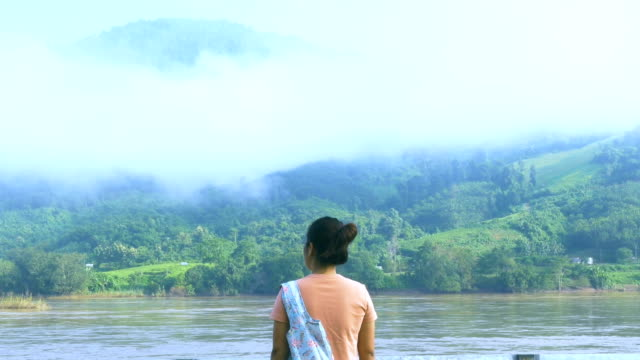 rear view : eco tourism at mekong river - eco tourism video stock e b–roll