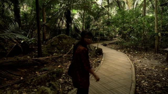vídeos de stock, filmes e b-roll de vista traseira: seguir o viajante sênior é na floresta antiga, uthaithani, tailândia - pouca luz