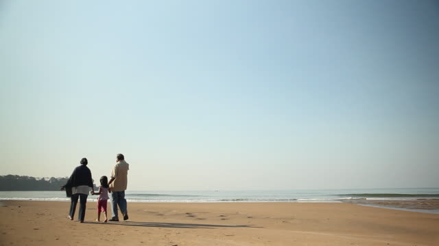 Rear view of a family walking on the beach