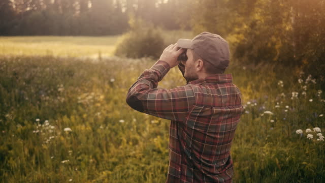 rear view of a man watching birds with binoculars on the meadow (slow motion) - bird watching stock videos & royalty-free footage