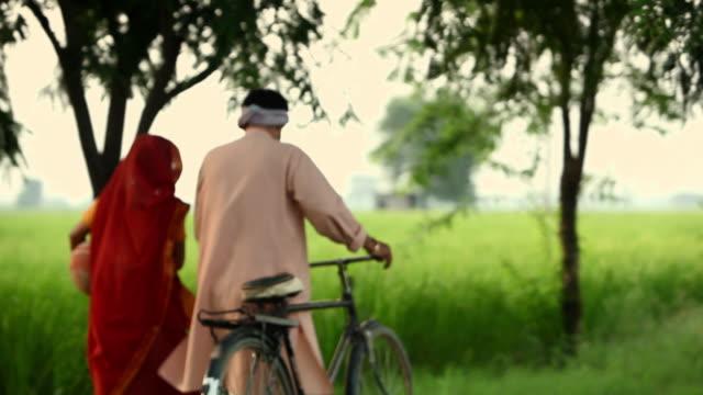 rear view of a rural couple walking  - dhoti video stock e b–roll