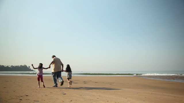 rear view of a senior man playing with his granddaughters on the beach - retirement stock videos & royalty-free footage