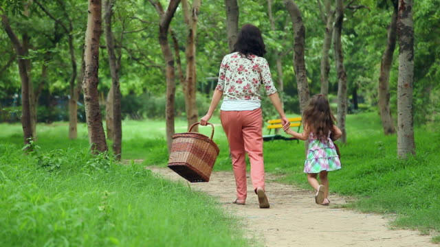vídeos de stock e filmes b-roll de rear view of adult woman walking with her daughter in the park, delhi, india - picnic