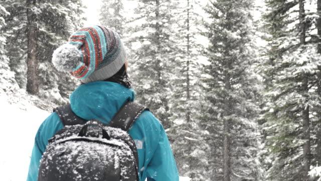 rückansicht des asiatin eine schneefall im winter genießen - wintersport stock-videos und b-roll-filmmaterial