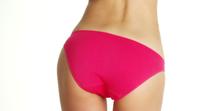 rear view of asian woman in hot pink underwear - navel stock videos & royalty-free footage