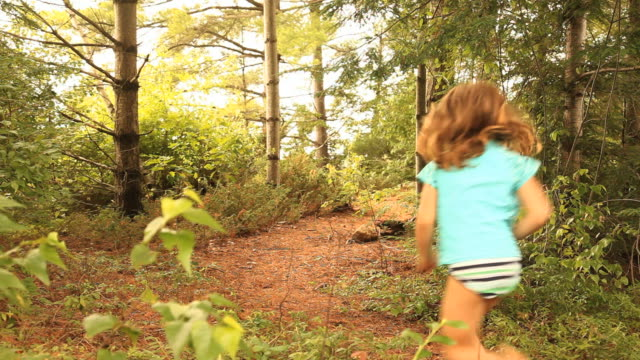 ws rear view of boy (4-5) and girl (6-7) running on footpath in forest, ashburnham, massachusetts, usa - bikini bottom stock videos & royalty-free footage