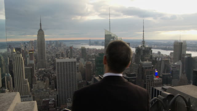 CU Rear view of businessman cheering and looking at New York cityscape / New York, USA