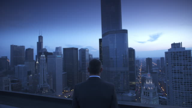 cu zo ws rear view of businessman on roof at twilight, skyscrapers in background, chicago, illinois, usa - 男商人 個影片檔及 b 捲影像