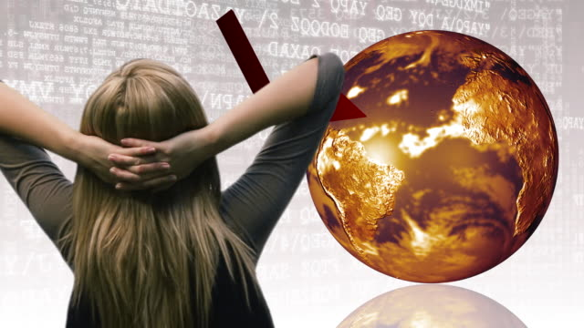 cu, composite, rear view of businesswoman facing rotating globe and graph - anno 2008 video stock e b–roll