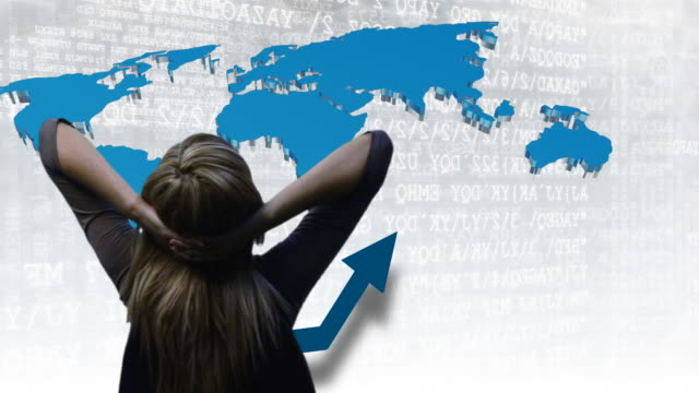 cu, composite, rear view of businesswoman facing world map and graph - liniendiagramm stock-videos und b-roll-filmmaterial