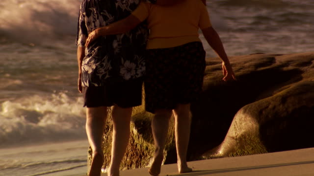 rear view of chubby couple walking on beach - dicke frauen am strand stock-videos und b-roll-filmmaterial
