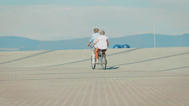 rear view of couple riding tandem bicycle on road - tandem stock videos & royalty-free footage