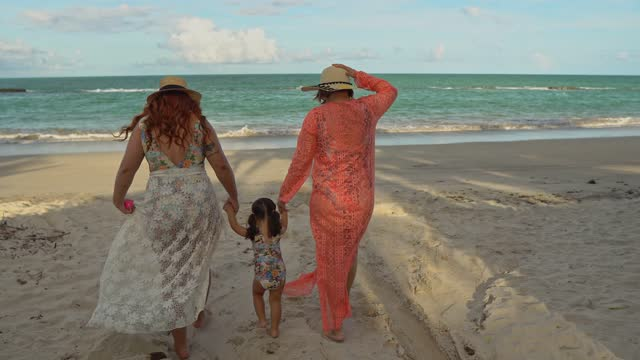 rear view of family on the beach - tropical climate stock videos & royalty-free footage