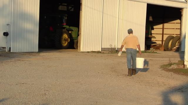 ws, rear view of farmer carrying pail towards barn, st. marys, ohio, usa - 乳製品工場点の映像素材/bロール