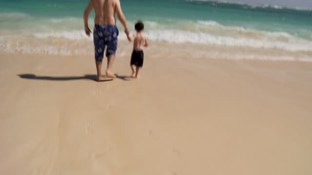 TU, WS, Rear view of father and son (2-3) running into ocean waves, Punta Cana, Dominican Republic