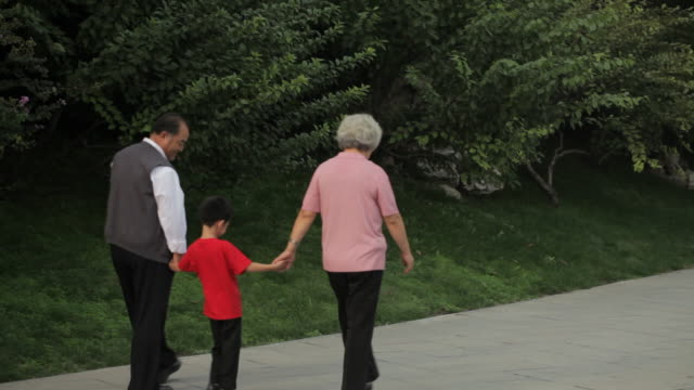 WS Rear view of grandparents holding hands with their grandson while walking through park / China