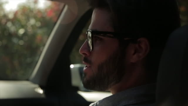 Rear view of happy man talking with traveling in car