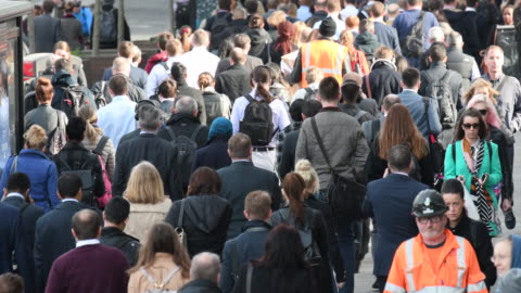 rear view of large crowd of people commuting to work - crowded stock videos & royalty-free footage